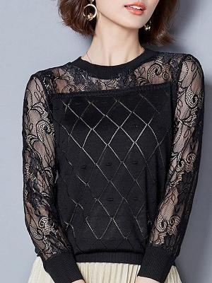 Shift Casual Long Sleeve Geometric Sweater_3