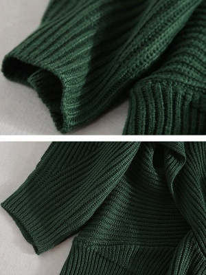 Green Sheath Long Sleeve Plunging neck Sweater_7