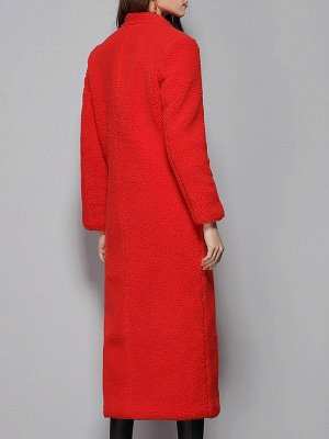Red Shift Solid Stand Collar Long Sleeve Coat_3