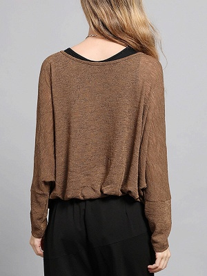 Bateau/boat neck Solid Shift Long Sleeve Casual Sweater_5