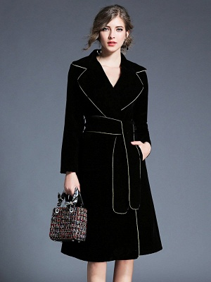 Black Work Lapel Shift Pockets Long Sleeve Coat_1