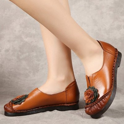 Flower Round Toe Casual Leather Loafers_7