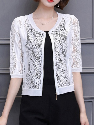 3/4 Sleeve Shift Crew Neck See-through Look Guipure lace Coat_1