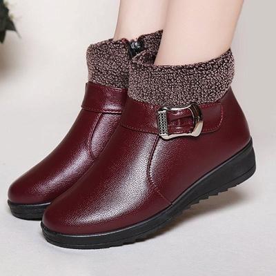 Wedge Heel Daily Zipper Round Toe Buckle Boots_1