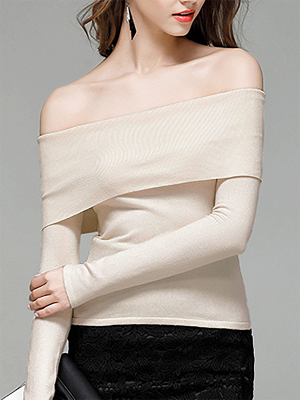 Shift Off Shoulder Solid Casual Long Sleeve Sweater_3