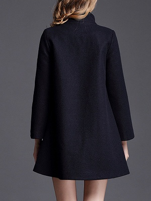 Navy Blue Shift Shawl Collar Buttoned Pockets Coat_3