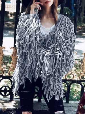 Long Sleeve Solid Shift Casual Crew Neck Fringed Coat_5