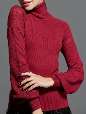 Casual Balloon Sleeve Knitted Sweater_5