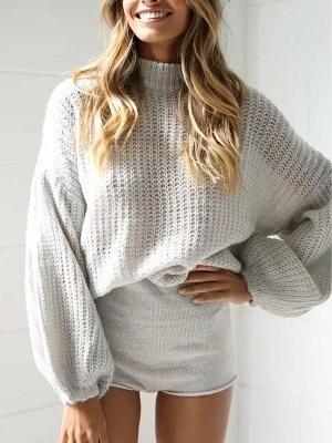 Plain Casual Balloon Sleeve Sweater_3