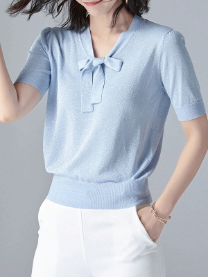 Tie-neck Knitted Casual Short Sleeve Bow Polyester Sweaters_3