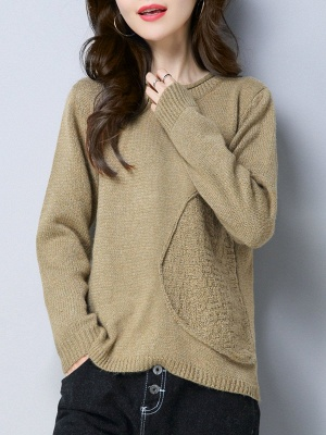 Long Sleeve Knitted Plain Casual Crew Neck Sweater_4