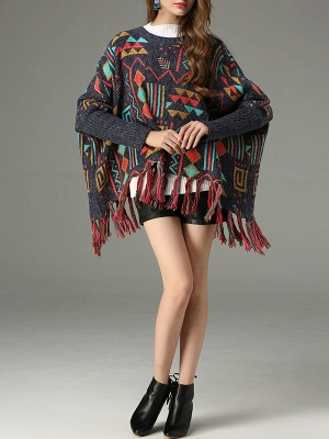 Multicolor Geometric Long Sleeve Casual Fringed Sweater_4