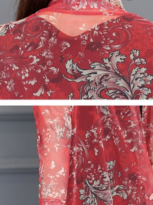3/4 Sleeve Casual Printed Floral Chiffon Coat_7