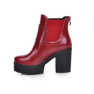 Buckle PU Chunky Heel Round Toe Boot_13
