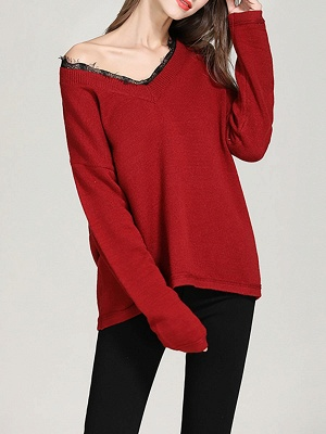 Crew Neck Long Sleeve Casual Shift Sweater_7