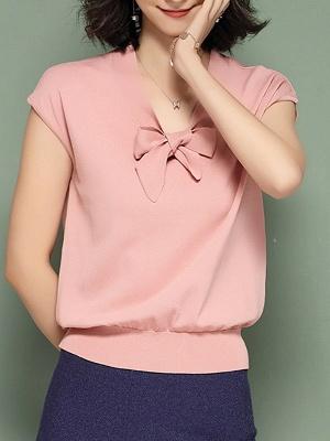 Tie-neck Ice Yarn Knit Elegant Short Sleeve Shift Knitted Sweater_2