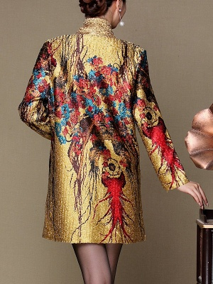Asymmetrical Long Sleeve Shawl Collar Casual Crinkled Printed Coat_6