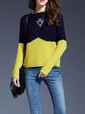 Long Sleeve Bateau/boat neck Casual Ribbed Sweater_2