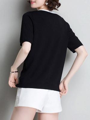 Sweater Shirt Collar Ice Yarn Knit Shift Daytime Knitwear_11
