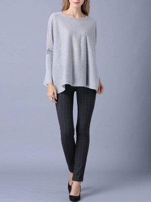 Solid Batwing Casual Knitted Crew Neck Sweater_14