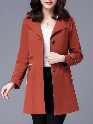 Lapel Long Sleeve Casual Buttoned Pockets Paneled Coat_2