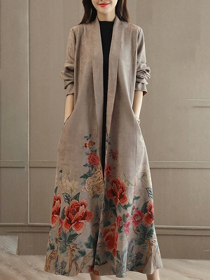 Casual Long Sleeve Pockets Floral-print A-line Coat_2