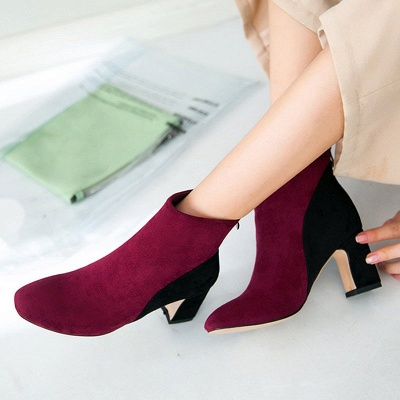 Women Daily Chunky Heel Suede Color Block Boots_7