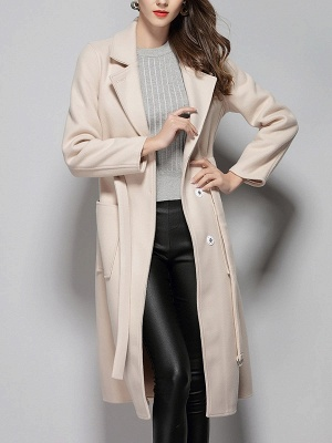 Apricot Work Wool Shift Pockets Lapel Buttoned Coat_4