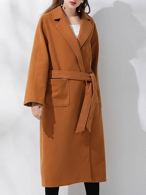 Brown Pockets Shift Solid Casual Long Sleeve Coat_6
