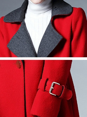 Red Shawl Collar Solid Long Sleeve Casual Coat_5