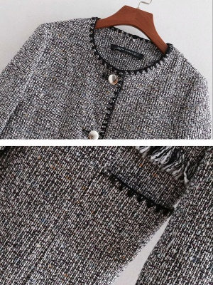 Gray Paneled Casual Crew Neck Buttoned Pockets Coat_4