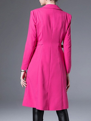 Rose Lapel Work A-line Buttoned Solid Long Sleeve Coat_3
