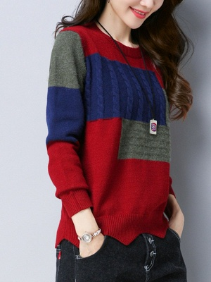 Long Sleeve Cable Casual Knitted Sweater_3