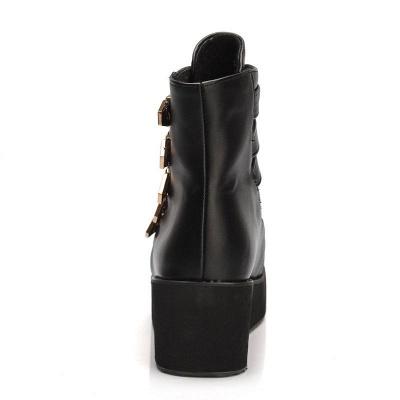 Women's Boots Black Round Toe Wedge Heel Boots_10