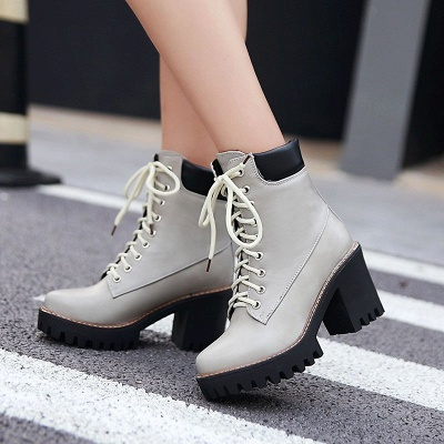 Daily Lace-up PU Round Toe Chunky Heel Boots_3