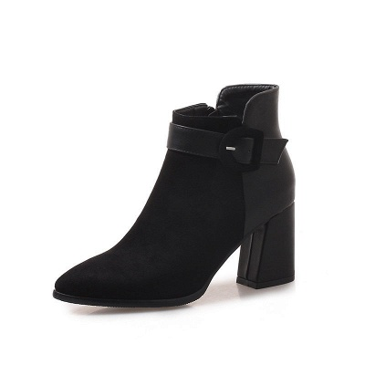 Daily Chunky Heel Suede Round Toe Boot_5