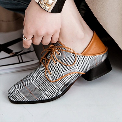 Checkered Lace-up Daily Square Toe Oxfords_7