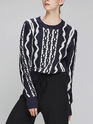 Navy Blue Cable Long Sleeve Casual Geometric Sweater_7