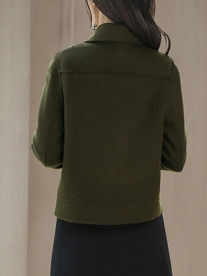 Work Long Sleeve Solid Lapel Buttoned Paneled Coat_4