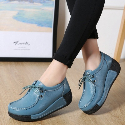 Wedge Heel Daily Lace-up Round Toe Loafers_4