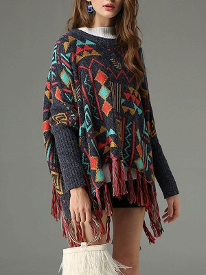 Multicolor Geometric Long Sleeve Casual Fringed Sweater_6