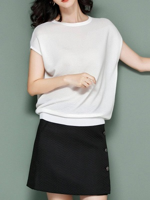 Elegant Ice Yarn Knit Short Sleeve Shift Knitted Solid Sweater_1