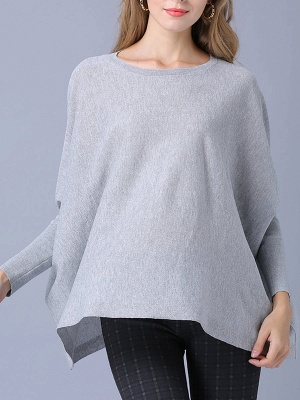 Solid Batwing Casual Knitted Crew Neck Sweater_3