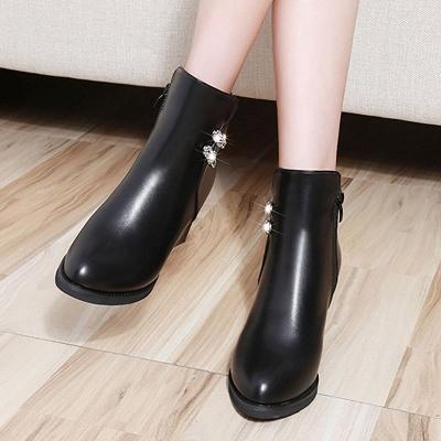 Chunky Heel Rhinestone Daily Pointed Toe Zipper Elegant Boots_8