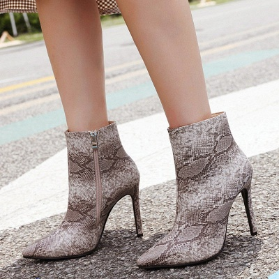 Women's Boots Stiletto Heel Pink Zipper Pointed Toe Sexy Boots_7