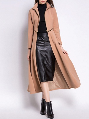 Stand Collar A-line Paneled Long Sleeve Casual Zipper Coat_2
