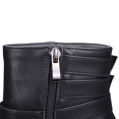 Daily Chunky Heel Zipper Round Toe Buckle Boots_18