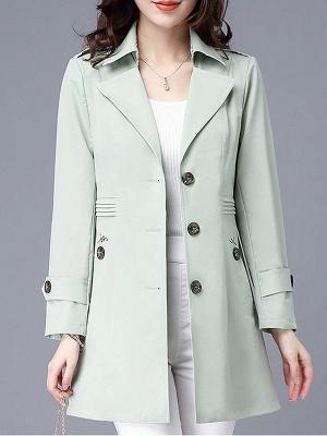 Lapel Long Sleeve Casual Buttoned Pockets Paneled Coat_4