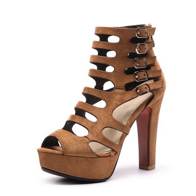 Suede Stiletto Heel Dress Lace-up Sexy Peep Toe Boots_1