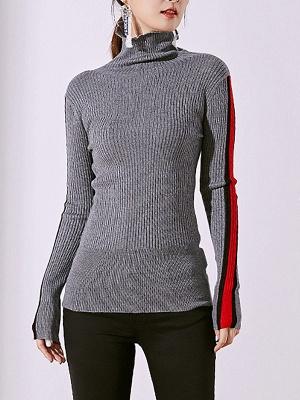 Solid Casual Sheath Long Sleeve Sweater_2